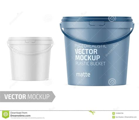 Free for personal and commercial use. White Matte Plastic Bucket Mockup With Label. Stock Vector ...