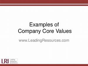 Examples of Company Core Values