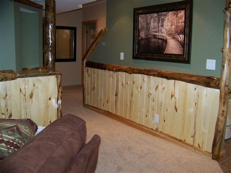 Custom Log Trim And Rustic Wood Work In A Man Cave For