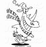 Rhino Unicycling Outline Coloring Cartoon Toonaday sketch template