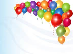 birthday flowers shiny colorful balloons ppt backgrounds blue design