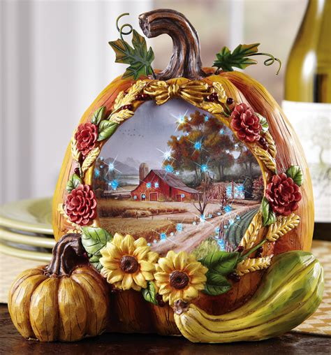 pumpkin decorations led lighted country harvest pumpkin fall decoration polyresin thanksgiving table ebay