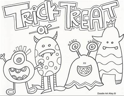 Doodle Halloween Coloring Pages Alley Doodles Trick