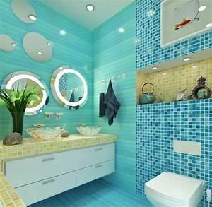 1001 designs uniques pour une salle de bain turquoise With carrelage adhesif salle de bain avec led pour aquarium planté