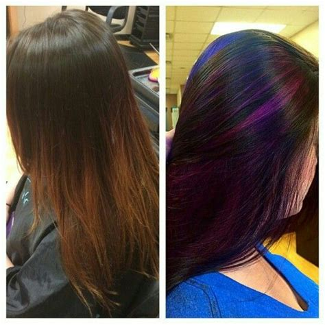 faded red ombre  transformed  dark brown hair