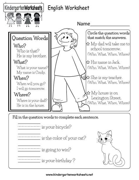 printable english worksheet  kindergarten