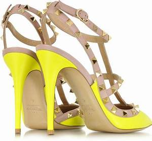 Valentino Rockstud Fluo Leather Slingback Sandal in Yellow