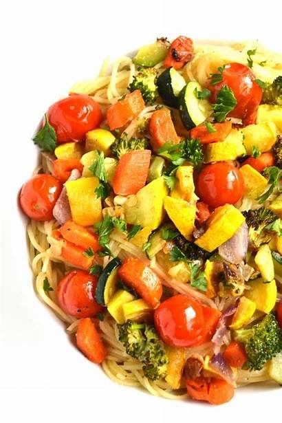 Roasted Garlic Pasta Lemon Vegetable Vegetables Dish