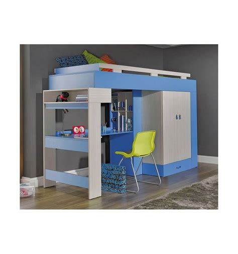 combiné lit bureau lit combiné bureau enfant libellule bleu mobiler d