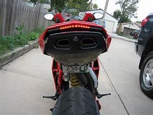 Custom Led Tail Light And License Plate Bracket Installed