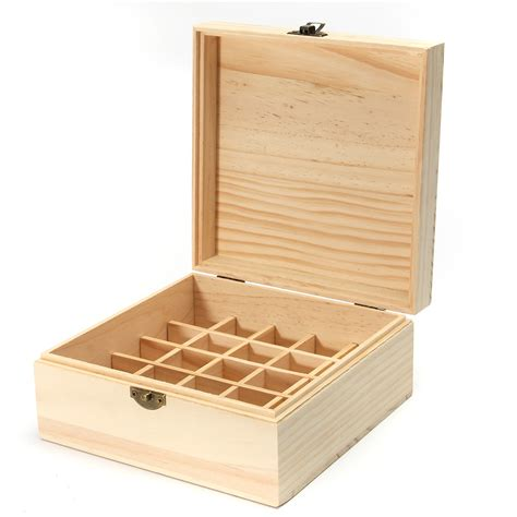 25 Holes Essential Oils Wooden Box Container Solid Pine