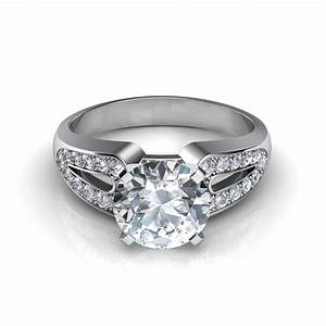 Split shank vintage style diamond engagement ring for Split shank engagement ring with wedding band