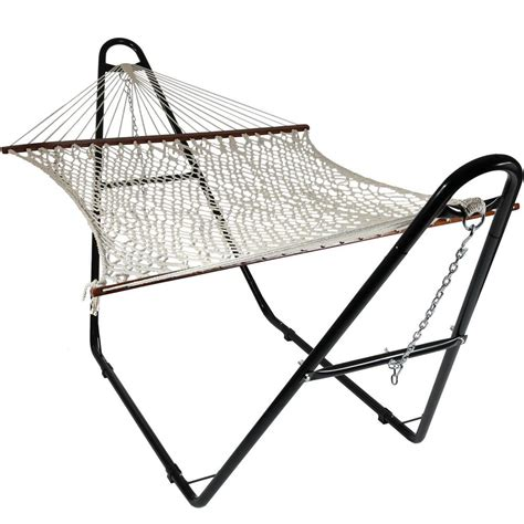 Cotton Rope Hammock With Stand by Sunnydaze Decor 11 Ft Free Standing 2 Person Wide