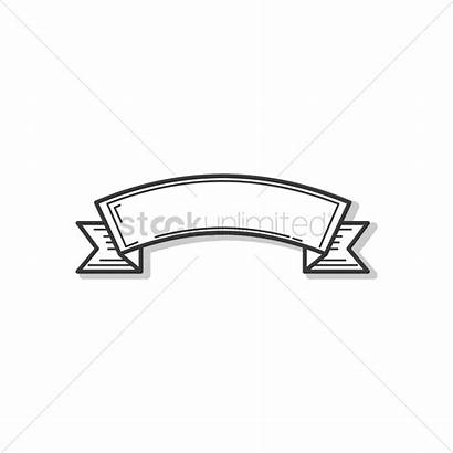 Ribbon Banner Outline Vector Stockunlimited Graphic Sign
