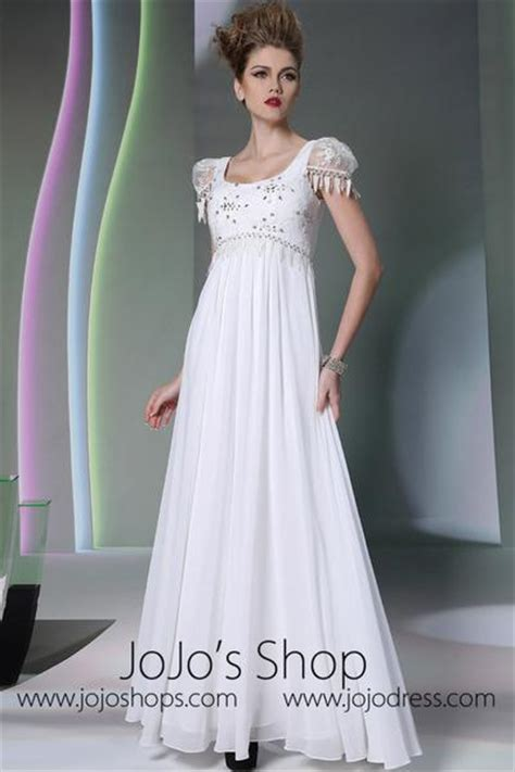 regency white cap sleeves formal prom dress dq
