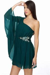 Lovely Teal Dress - One Shoulder Dress - Blue Dress - $41.00
