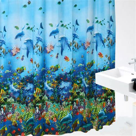 shower curtain hooks sea fish curtains colorful bright waterproof Fish