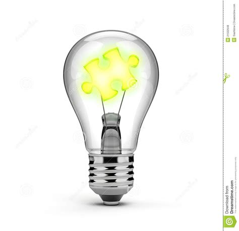 light bulb   glowing puzzle piece royalty  stock