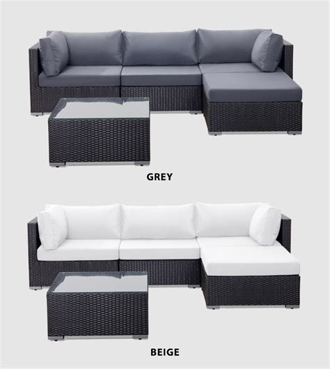 Wicker Sofa Cushion by Garden Rattan Lounge Sofa Set Black Wicker Grey Cushions