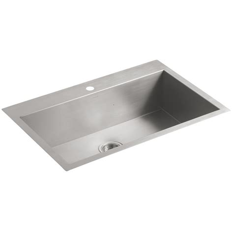 stainless steel kitchen sinks kohler vault 3821 1 na single bowl stainless steel kitchen