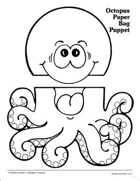 octopus paper bag puppet pattern printable arts crafts