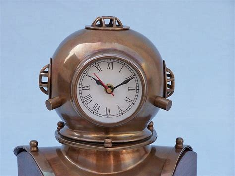Wholesale Antique Brass Divers Helmet Clock On Rosewood