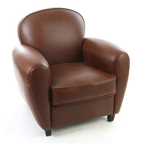 fauteuil club simili cuir marron 75 cm