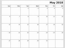 blank printable calendar 2018 may – Printable Shelter