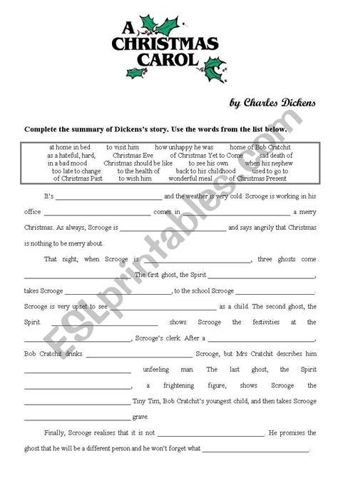 a christmas carol esl worksheet by yppos59