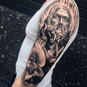 Cool Male Jesus And Dove Half Sleeve Tattoo Design Ideas ...
