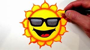 How to Draw a Cool Sun Smiley Face with Sunglasses - YouTube