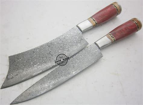 Lot Of 2 Pcs Damascus Kitchen Knife Custom Handmade