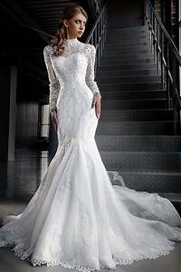 White lace long sleeve muslim wedding dress mermaid high for Long white wedding dresses