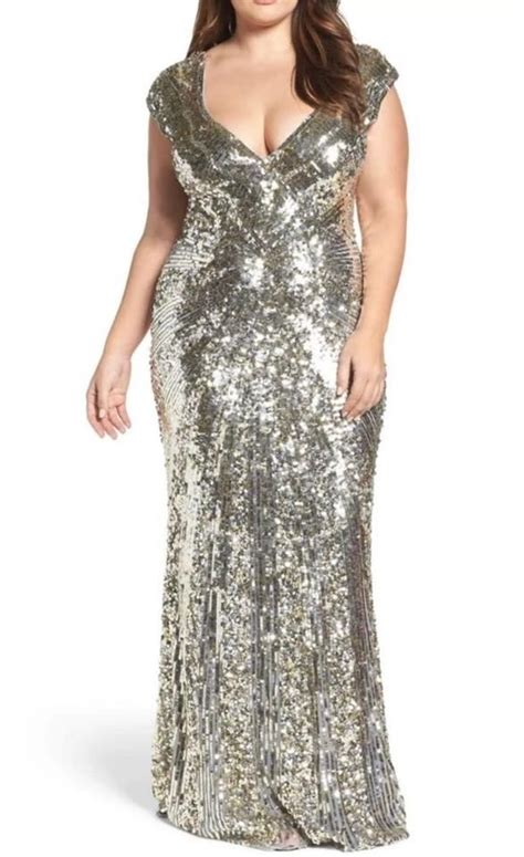 Mac Duggal Couture Silver Plunging Sequin V Neck Metallic ...
