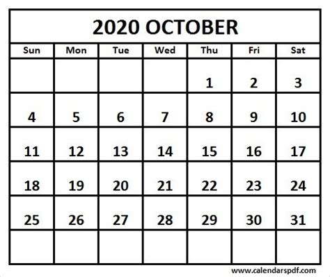 printable october calendar template calendar