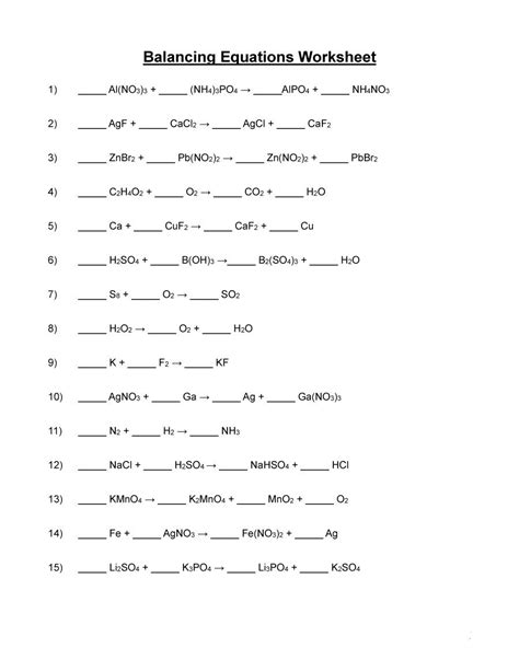 balancing equations worksheet answer key equations