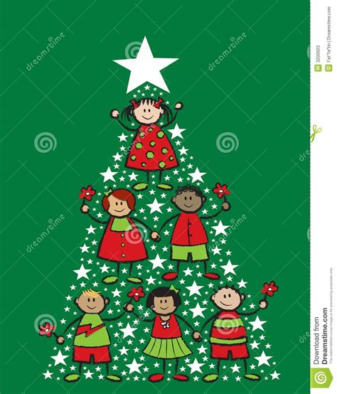 christmas tree cartoon kids stock vector image