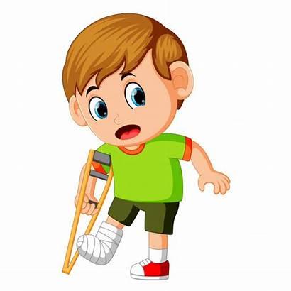Broken Leg Pierna Clipart Rota Cartoon Boy