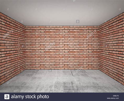 live room decoration empty room interior with brick walls front view 3d