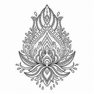 Henna Muster Schablone : vektorgrafik henna tattoo flower template in indian style ethnic paisley lotus ornament ~ Frokenaadalensverden.com Haus und Dekorationen