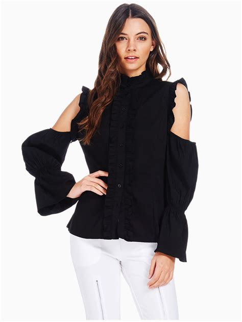 cold shoulder blouses tov black cold shoulder baroness blouse modishonline com