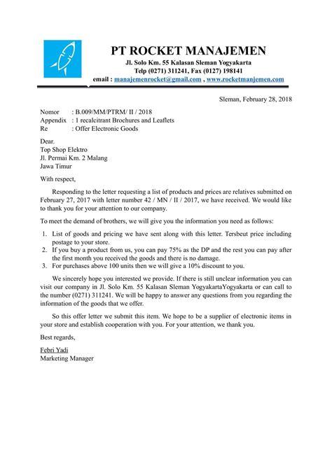 contoh surat penawaran dalam bahasa inggris