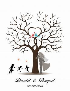 Arbre A Empreinte : buy customized wedding fingerprint thumbprint tree guestbook alternative party ~ Preciouscoupons.com Idées de Décoration