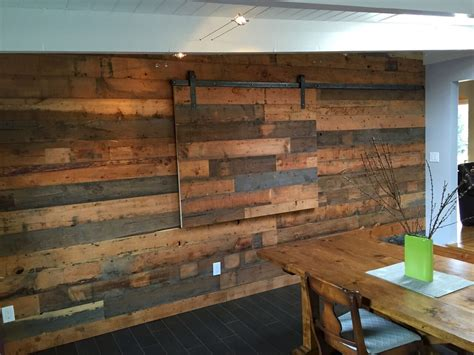 Reclaimed Shiplap reclaimed fir shiplap wall with tv slider cabinetry