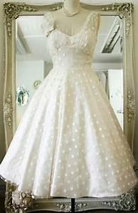 vintage polka dots tea length wedding dress on luulla With polka dot wedding dress