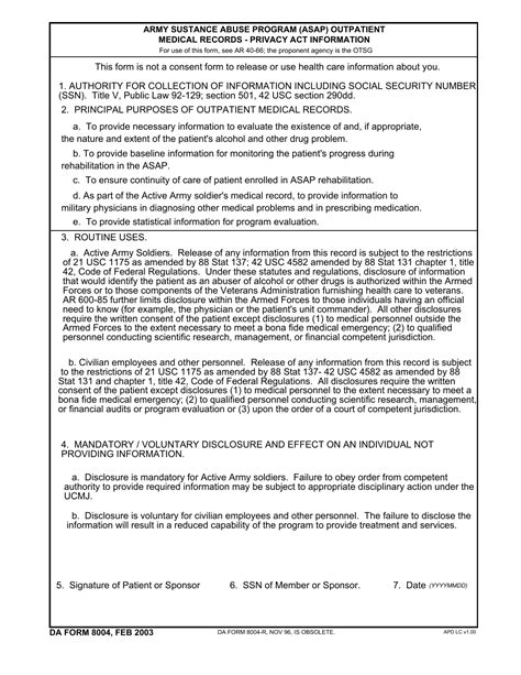 Download DA Form 8004 | Army Substance Abuse Program (ASAP