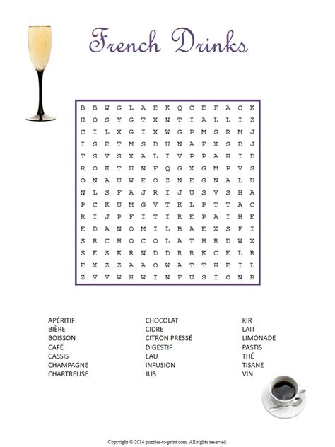 french drinks word search puzzle