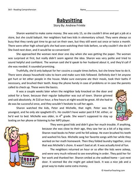 reading comprehension for 4th grade kidz activities