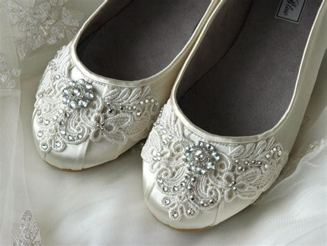 Ballet Flats Shoes : Womens Wedding Shoes Lace Wedding Ballet Flats Accessories