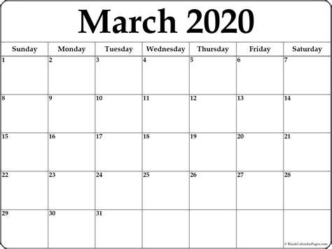 march  blank calendar templates